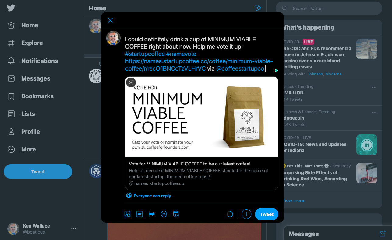Twitter share in action